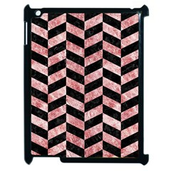 Chevron1 Black Marble & Red & White Marble Apple Ipad 2 Case (black) by trendistuff