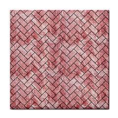 Brick2 Black Marble & Red & White Marble (r) Tile Coaster by trendistuff