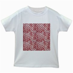 Brick2 Black Marble & Red & White Marble (r) Kids White T Shirt by trendistuff