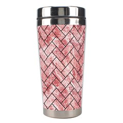 Brick2 Black Marble & Red & White Marble (r) Stainless Steel Travel Tumbler by trendistuff