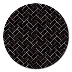 Brick2 Black Marble & Red & White Marble Magnet 5  (round) by trendistuff