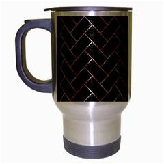 Brick2 Black Marble & Red & White Marble Travel Mug (silver Gray) by trendistuff