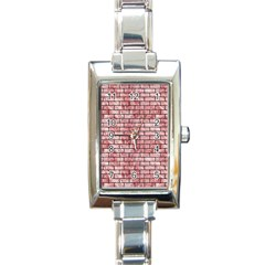 Brick1 Black Marble & Red & White Marble (r) Rectangle Italian Charm Watch by trendistuff