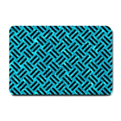 Woven2 Black Marble & Turquoise Marble (r) Small Doormat by trendistuff