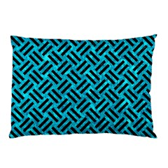 Woven2 Black Marble & Turquoise Marble (r) Pillow Case (two Sides) by trendistuff