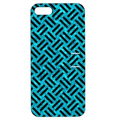 Woven2 Black Marble & Turquoise Marble (r) Apple Iphone 5 Hardshell Case With Stand by trendistuff