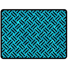 Woven2 Black Marble & Turquoise Marble (r) Double Sided Fleece Blanket (large) by trendistuff