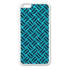 Woven2 Black Marble & Turquoise Marble (r) Apple Iphone 6 Plus/6s Plus Enamel White Case by trendistuff