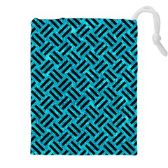 Woven2 Black Marble & Turquoise Marble (r) Drawstring Pouch (xxl) by trendistuff