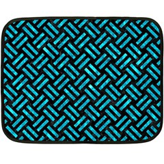 Woven2 Black Marble & Turquoise Marble Fleece Blanket (mini) by trendistuff