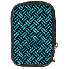 Woven2 Black Marble & Turquoise Marble Compact Camera Leather Case by trendistuff