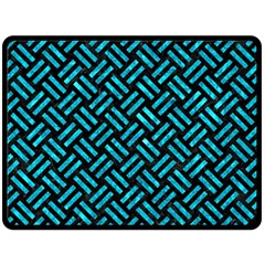 Woven2 Black Marble & Turquoise Marble Fleece Blanket (large) by trendistuff