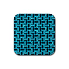 Woven1 Black Marble & Turquoise Marble (r) Rubber Coaster (square) by trendistuff
