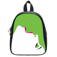 Image Of A Woman s Face Green White School Bags (small)  by Jojostore