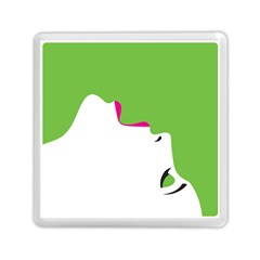 Image Of A Woman s Face Green White Memory Card Reader (square)  by Jojostore