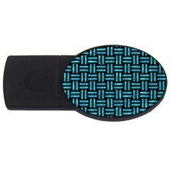 Woven1 Black Marble & Turquoise Marble Usb Flash Drive Oval (2 Gb) by trendistuff