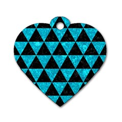 Triangle3 Black Marble & Turquoise Marble Dog Tag Heart (two Sides) by trendistuff
