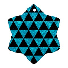 Triangle3 Black Marble & Turquoise Marble Snowflake Ornament (two Sides) by trendistuff
