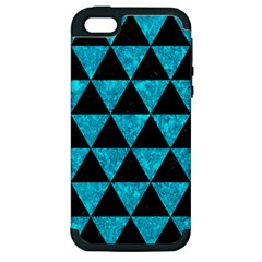 Triangle3 Black Marble & Turquoise Marble Apple Iphone 5 Hardshell Case (pc+silicone) by trendistuff