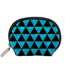Triangle3 Black Marble & Turquoise Marble Accessory Pouch (small)