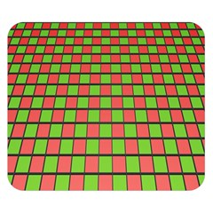 Green Red Box Double Sided Flano Blanket (small)  by Jojostore