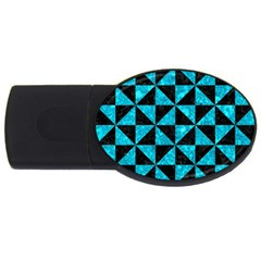 Triangle1 Black Marble & Turquoise Marble Usb Flash Drive Oval (2 Gb) by trendistuff