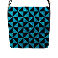 Triangle1 Black Marble & Turquoise Marble Flap Closure Messenger Bag (l) by trendistuff