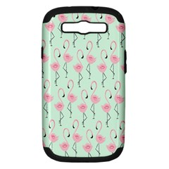 Mint Flamingos Samsung Galaxy S Iii Hardshell Case (pc+silicone) by Jojostore
