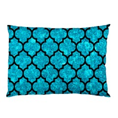 Tile1 Black Marble & Turquoise Marble (r) Pillow Case by trendistuff