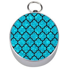 Tile1 Black Marble & Turquoise Marble (r) Silver Compass