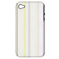 Line Yellow Purple Green Apple Iphone 4/4s Hardshell Case (pc+silicone) by Jojostore