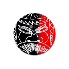 Mask Face Red Black Magnet 3  (round) by Jojostore