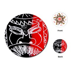 Mask Face Red Black Playing Cards (round)  by Jojostore