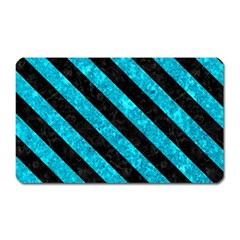 Stripes3 Black Marble & Turquoise Marble (r) Magnet (rectangular) by trendistuff