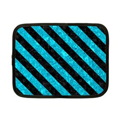 Stripes3 Black Marble & Turquoise Marble (r) Netbook Case (small) by trendistuff