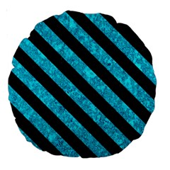 Stripes3 Black Marble & Turquoise Marble (r) Large 18  Premium Round Cushion  by trendistuff