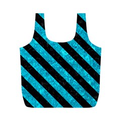 Stripes3 Black Marble & Turquoise Marble (r) Full Print Recycle Bag (m) by trendistuff