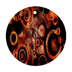 Orange Black Abstract Artwork Ornament (round)