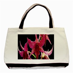 Orchid Flower Branch Pink Exotic Black Basic Tote Bag (two Sides) by Jojostore