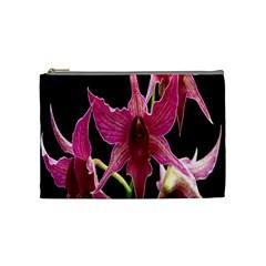 Orchid Flower Branch Pink Exotic Black Cosmetic Bag (medium)  by Jojostore