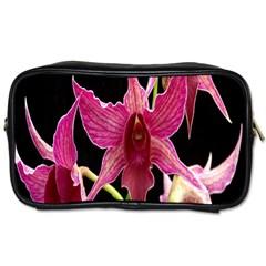 Orchid Flower Branch Pink Exotic Black Toiletries Bags 2 Side by Jojostore