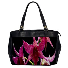 Orchid Flower Branch Pink Exotic Black Office Handbags by Jojostore