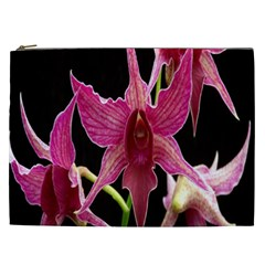 Orchid Flower Branch Pink Exotic Black Cosmetic Bag (xxl)  by Jojostore