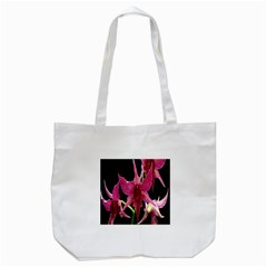 Orchid Flower Branch Pink Exotic Black Tote Bag (white) by Jojostore