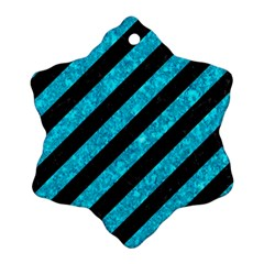 Stripes3 Black Marble & Turquoise Marble Snowflake Ornament (two Sides) by trendistuff