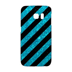 Stripes3 Black Marble & Turquoise Marble Samsung Galaxy S6 Edge Hardshell Case by trendistuff