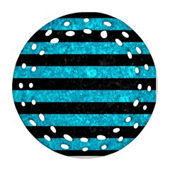 Stripes2 Black Marble & Turquoise Marble Ornament (round Filigree) by trendistuff