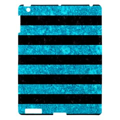 Stripes2 Black Marble & Turquoise Marble Apple Ipad 3/4 Hardshell Case by trendistuff