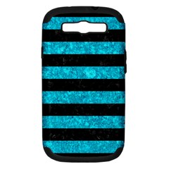 Stripes2 Black Marble & Turquoise Marble Samsung Galaxy S Iii Hardshell Case (pc+silicone) by trendistuff