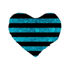 Stripes2 Black Marble & Turquoise Marble Standard 16  Premium Heart Shape Cushion